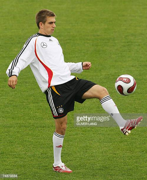 Germany's national football team defender Philipp Lahm juggles with the ball during a training session 01 June 2007 in Herzogenaurach southern...