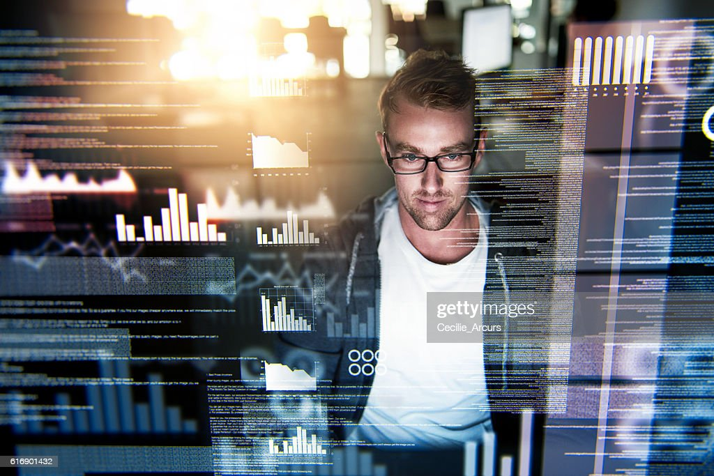 He's a gifted programmer : Stock Photo