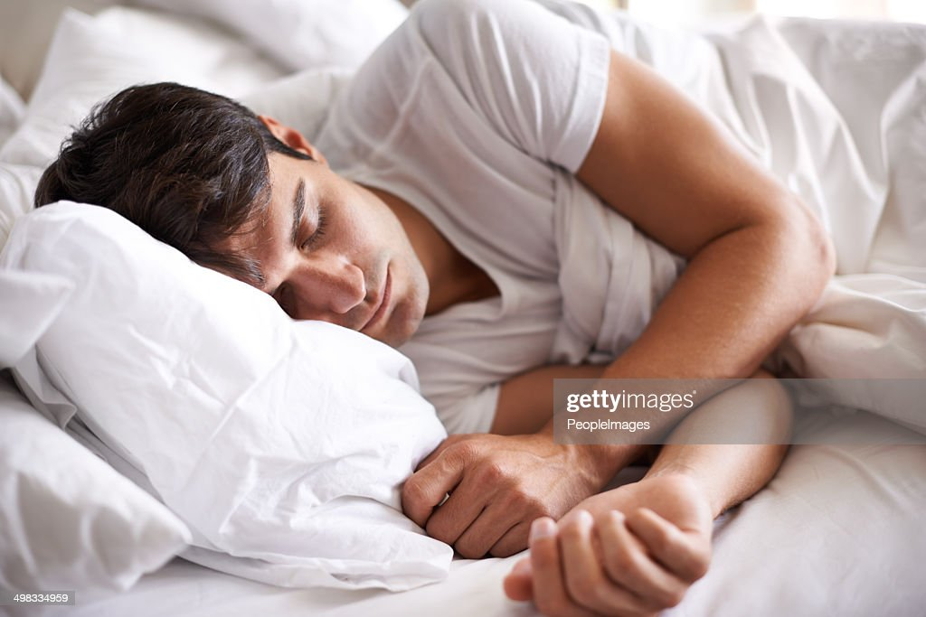 He's a peaceful sleeper : Stock Photo