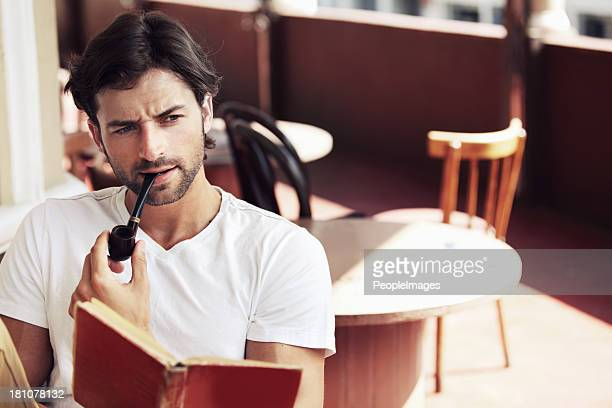 he's a real man about town - pipe smoking pipe stock photos and pictures