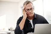 shot mature man looking stressed out