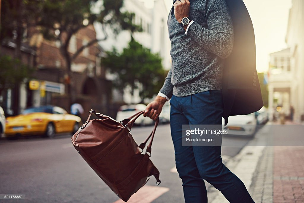 He's fashionably on his way : Stock Photo