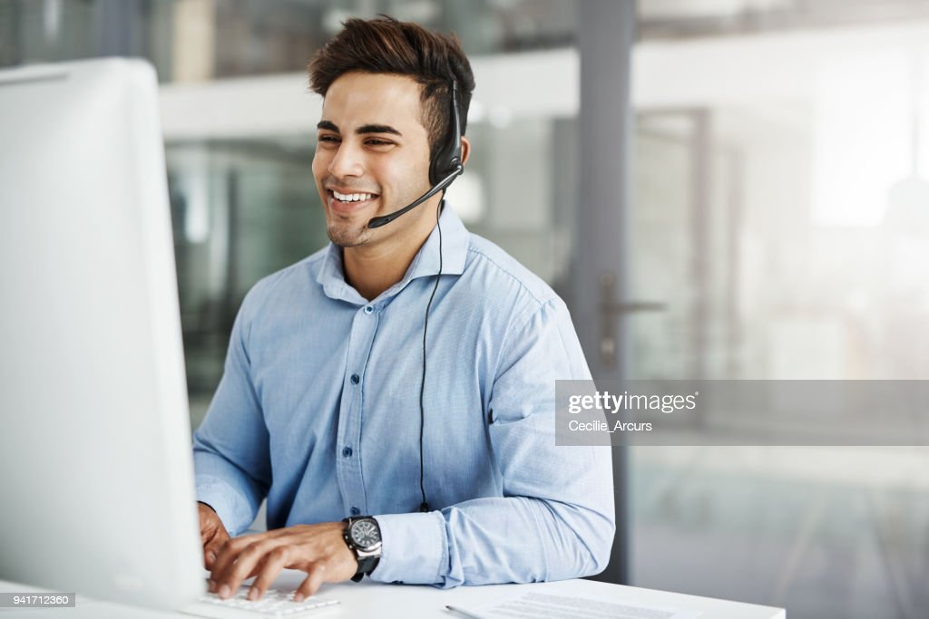 He's fluent in the company's brand : Stock Photo