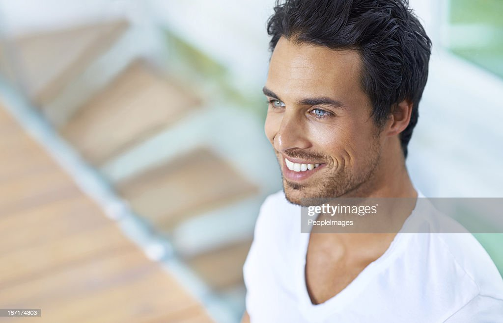 He's handsome and happy : Stock Photo