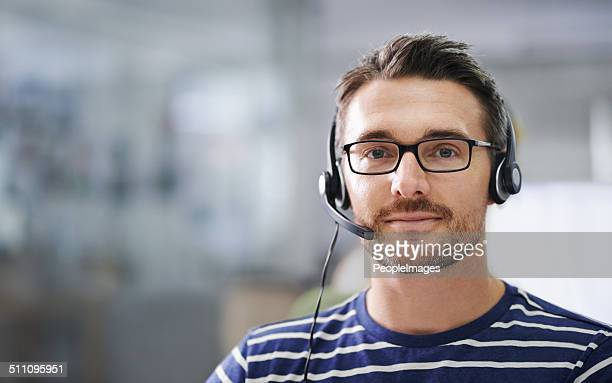 he's here to help! - headset stock pictures, royalty-free photos & images