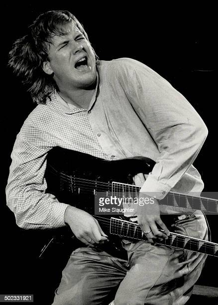 He's hot: Toronto guitarist Jeff Healey; seen in performance at Ontario Place Forum in the fall of 1988; last night snared triple honors at the CASBY...