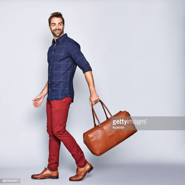 he's off on an adventure - men fashion stock photos and pictures