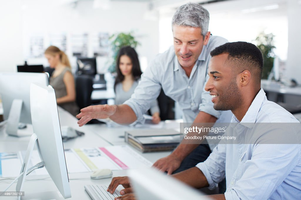 He's on the right track : Stock Photo