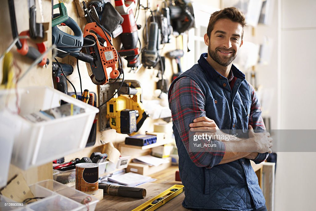 He's prepared for any project : Stock Photo