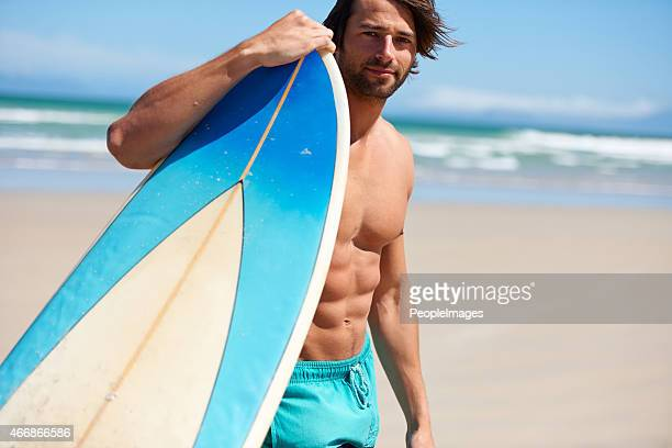 he's ready to surf - muscle men at beach stock photos and pictures