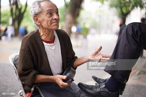He's the best shoeshiner on this street