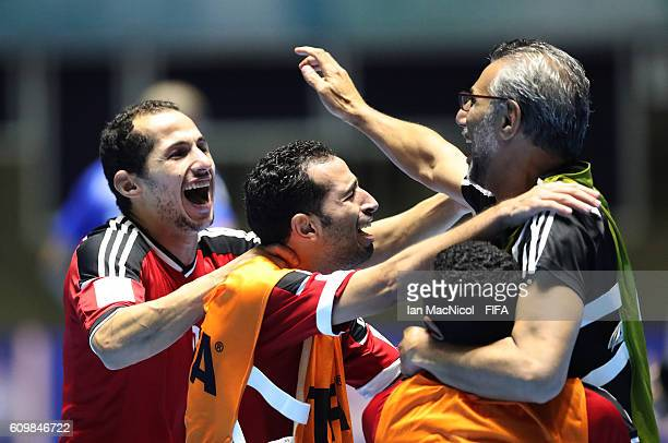 Hesham Saleh the coach of Egypt celebrates victory during the FIFA Futsal World Cup Round of 16 match between Italy and Egypt at the Coliseo el...