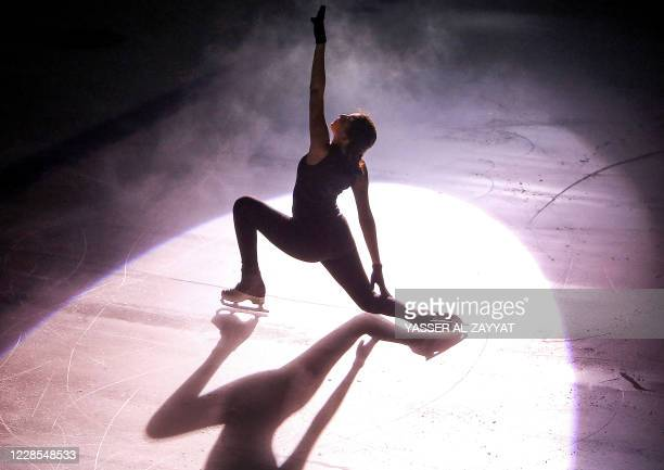 Hessa al-Saraawi of Kuwait performs during the Kuwait Winter Games club figure skating competition in Kuwait City on September 16, 2020.