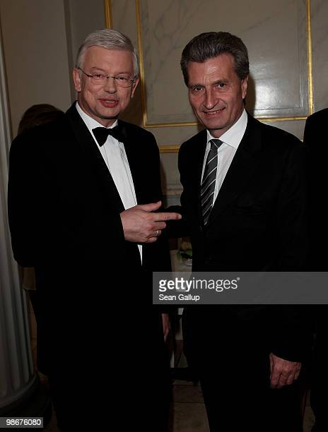 Hesse governor Roland Koch and BadenWuerttemberg governor Guenther Oettinger attend the Roland Berger Award for Human Dignity 2010 at the Konzerthaus...