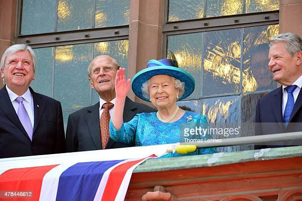 Hessian Prime Minister Volker Bouffier, Prince Philip, Duke of Edingburgh, Queen Elizabeth II and German President Joachim Gauck are seen on the...