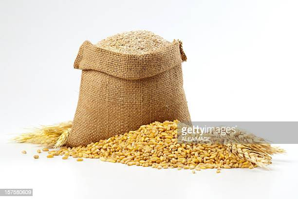 hessian sack of grain and wheat - wheat stock pictures, royalty-free photos & images