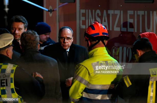 Hessian State Minister of the Interior gives arrives on February 24 2020 in Volkmarsen near Kassel central Germany Several people were injured when a...
