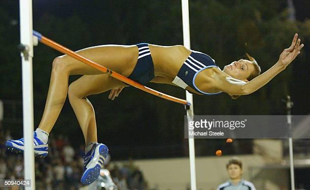 Hestrie Cloete of South Africa during the women's high jump at the IAAF Golden Spike meet in Ostrava Czech Republic