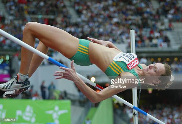 Hestrie Cloete of South Africa in action during the women's High Jump Final at the 9th IAAF World Athletics Championships August 31 2003 in Paris