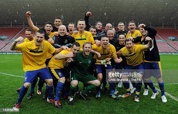 Hetton Lyons celebrate following the FA Sunday Cup Final between Hetton Lyons and Canada at the Stadium of Light on April 29, 2012 in Sunderland,...
