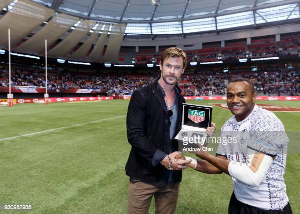 TAG Heuer Ambassador Chris Hemsworth presents Tag Heuer watch to Alasio Sovita Naduva of Fiji for the #DontCrackUnderPressure moment of the match at...