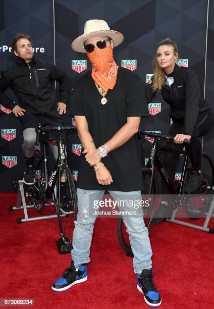 Heuer Art Provacateur Alec Monopoly attends TAG Heuer unveiling of Amgen Tour of California Best Young Rider Jersey with Brand Ambassador Alec...