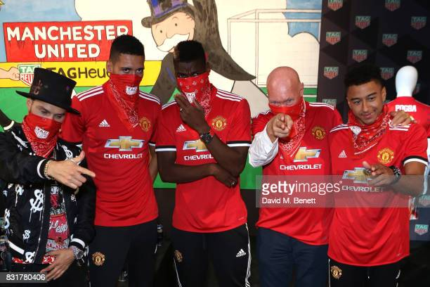 TAG Heuer Art Provocateur Alec Monopoly Chris Smalling Paul Pogba TAG Heuer CEO and President of LVMH Watch Division JeanClaude Biver and Jesse...