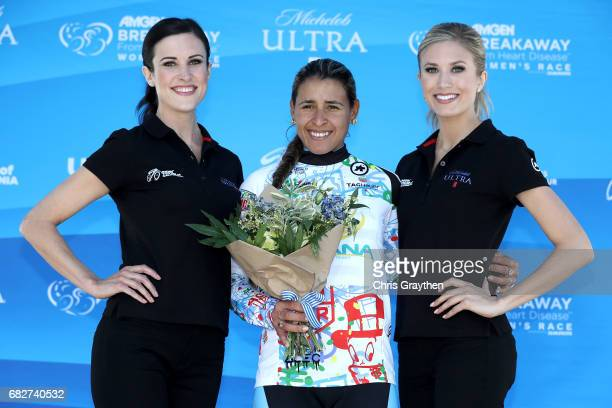 Heuer Best Young Rider and Visit Califorina Sprint Leader Arlenis Sierra of Cuba, poses for a photo on the podium following Stage 3 of the Amgen...
