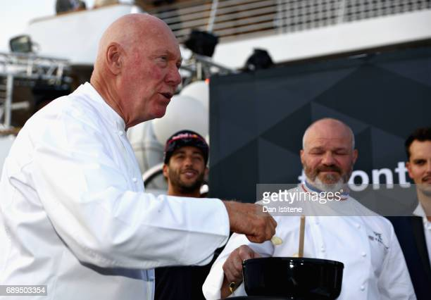 Heuer CEO JeanClaude Biver and Chef Philippe Etchebest at the TAG Heuer Culinary Challenge on May 27 2017 in MonteCarlo Monaco