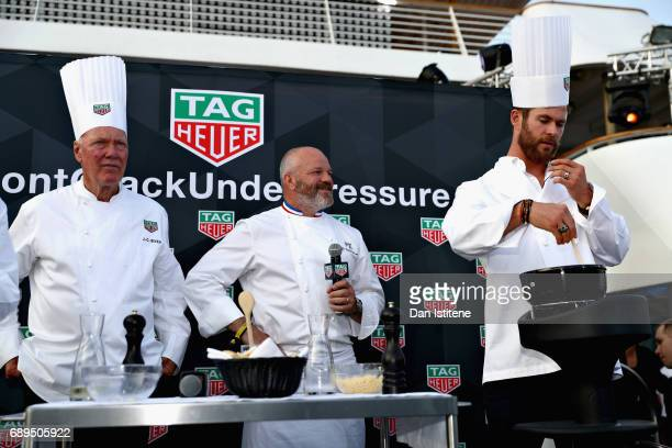 Heuer CEO JeanClaude Biver Chef Philippe Etchebest and Actor Chris Hemsworth at the TAG Heuer Culinary Challenge on May 27 2017 in MonteCarlo Monaco