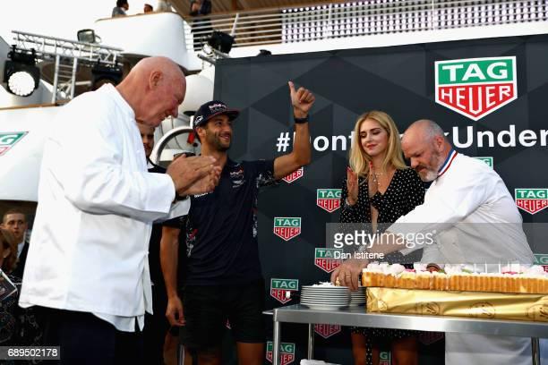 Heuer CEO JeanClaude Biver Daniel Ricciardo of Australia and Red Bull Racing Fashion blogger and model Chiara Ferragni and Chef Philippe Etchebest at...