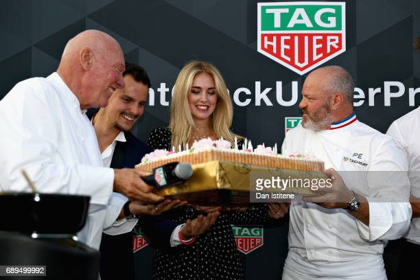 Heuer CEO JeanClaude Biver Fashion blogger and model Chiara Ferragni and Chef Philippe Etchebest at the TAG Heuer Culinary Challenge on May 27 2017...