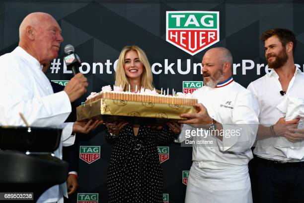 Heuer CEO JeanClaude Biver Fashion blogger and model Chiara Ferragni Chef Philippe Etchebest and Actor Chris Hemsworth at the TAG Heuer Culinary...