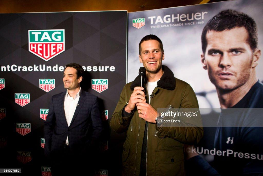 Heuer CEO Killian Muller presents New England Patriots quarterback Tom Brady with a Caliber H02 Tourbillion on February 8, 2017 in Boston, Massachusetts.