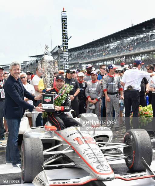 Heuer Vice President of Marketing Andrea Soriani and 2018 Indy 500 Winner Will Power attend the TAG Heuer Celebration of The 102nd Running Of The...