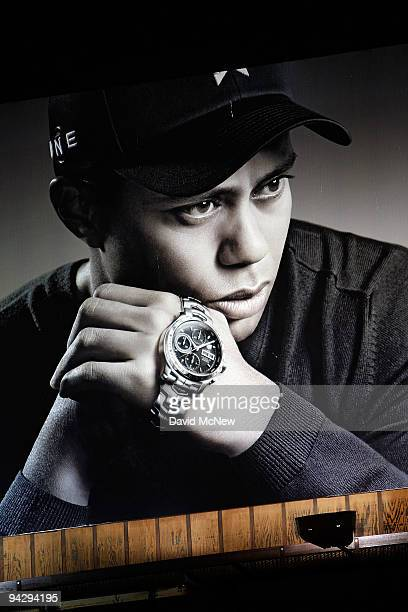 Heuer watch billboard with an image of golf legend Tiger Woods is shown on December 11 2009 in Los Angeles California Woods announced that he will...
