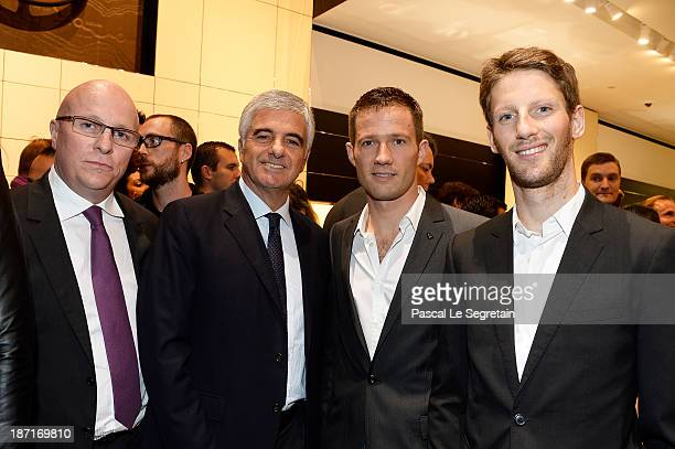 TAG Heuer's CEO Stephane Linder Antonio Belloni Sebastien Ogier and Romain Grosjean attend the Opening of the TAG Heuer New Boutique Followed By An...