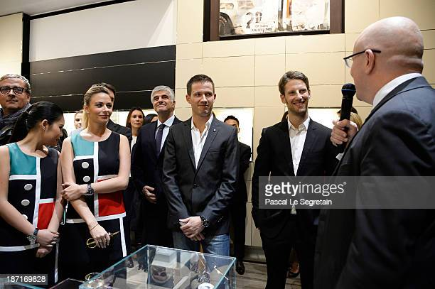 TAG Heuer's CEO Stephane Linder Romain Grosjean Sebastien Ogier and Antonio Belloni attend the Opening of the TAG Heuer New Boutique Followed By An...