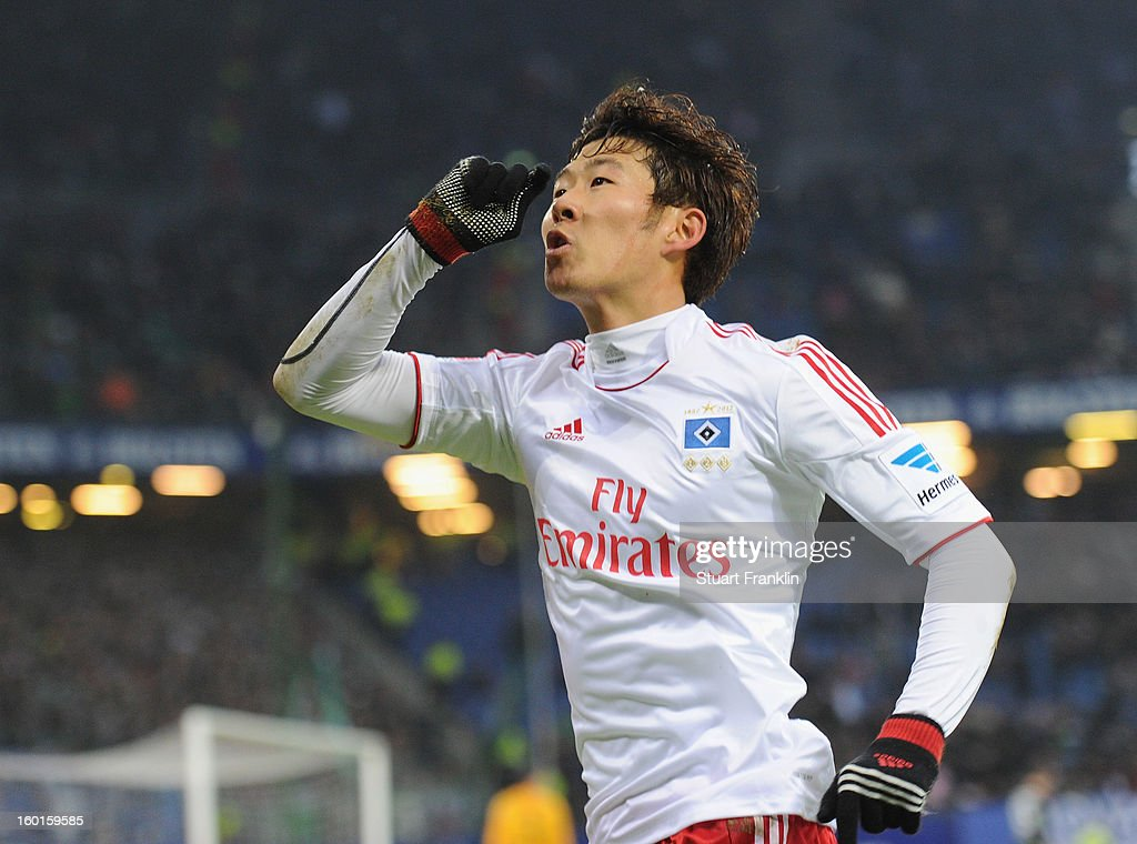 Heung Min Son of Hamburg celebrates scoring his goal during the Bundesliga match between Hamburger SV and SV Werder Bremen at Imtech Arena on January 27, 2013 in Hamburg, Germany.