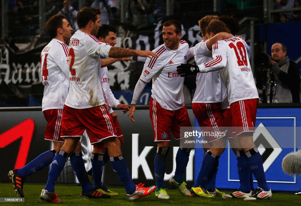 Heung Min Son (2nd R) of Hamburg celebrates with his team mates after scoring his team's first goal during the Bundesliga match between Hamburger SV and 1. FSV Mainz 05 at Imtech Arena on November 17, 2012 in Hamburg, Germany.
