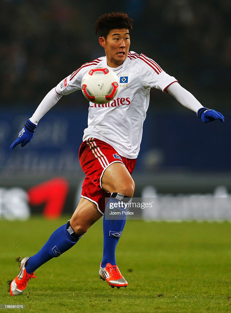 Heung Min Son of Hamburg controls the ball during the Bundesliga match between Hamburger SV and 1. FSV Mainz 05 at Imtech Arena on November 17, 2012 in Hamburg, Germany.
