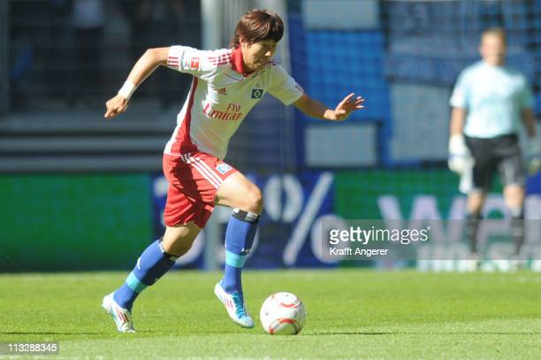 Heung Min Son of Hamburg in action during the Bundesliga match between Hamburger SV and SC Freiburg at Imtech Arena on April 30 2011 in Hamburg...