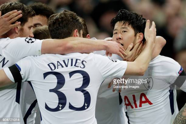 Heung Min Son of Tottenham Hotspur celebrates 10 with Jan Vertonghen of Tottenham Hotspur Dele Alli of Tottenham Hotspur Harry Kane of Tottenham...