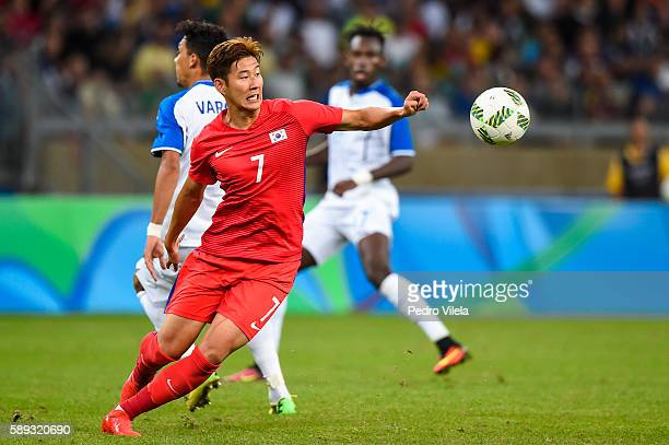 Heungmin of Republic of Korea a match between Republic of Korea and Honduras as part of Men`s Football - Olympics at Mineirao Stadium on August 13,...