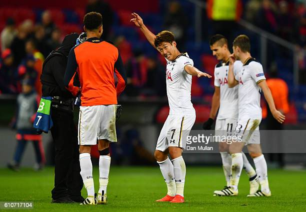 HeungMin Son and Dele Alli of Tottenham Hotspur celebrate victory after during the UEFA Champions League Group E match between PFC CSKA Moskva and...