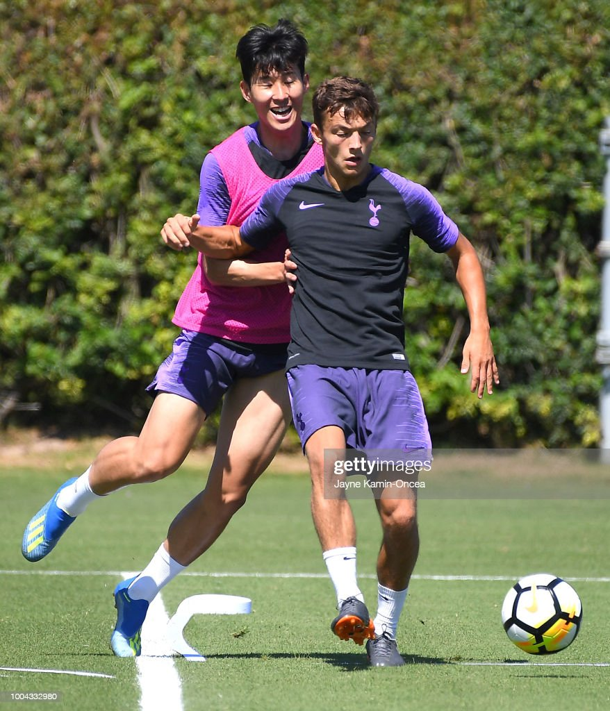 Heung-Min Son #7 and George Marsh #53 of Tottenham Hotspur FC chase down the ball during at Loyola Marymount University on July 23, 2018 in Playa del Rey, California.