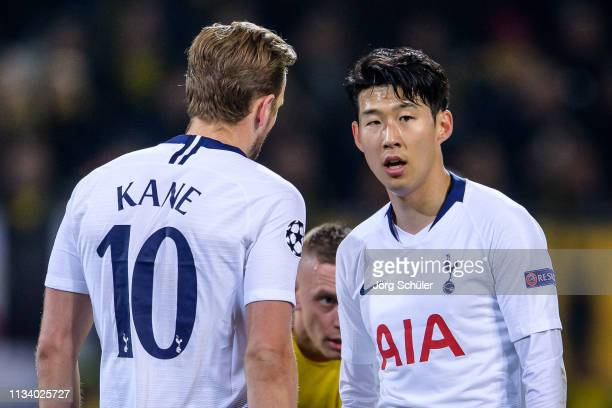 Heungmin Son and Harry Kane of Tottenham during the UEFA Champions League Round of 16 Second Leg match between Borussia Dortmund and Tottenham...