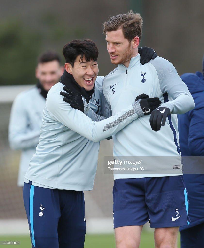 Heung-Min Son and Jan Vertonghen of Tottenham Hotspur during the Tottenham Hotspur training session at Tottenham Hotspur Training Centre on February 2, 2018 in Enfield, England.