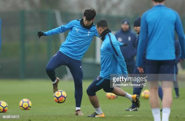 HeungMin Son and Michel Vorm of Tottenham Hotspur during the Tottenham Hotspur training session at Tottenham Hotspur Training Centre on January 11...