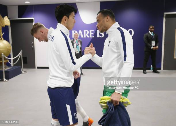 HeungMin Son and Michel Vorm of Tottenham Hotspur in the tunnel prior to the Emirates FA Cup Fourth Round replay match between Tottenham Hotspur and...